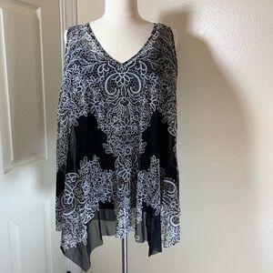 INC Womens Black & White Handkerchief top